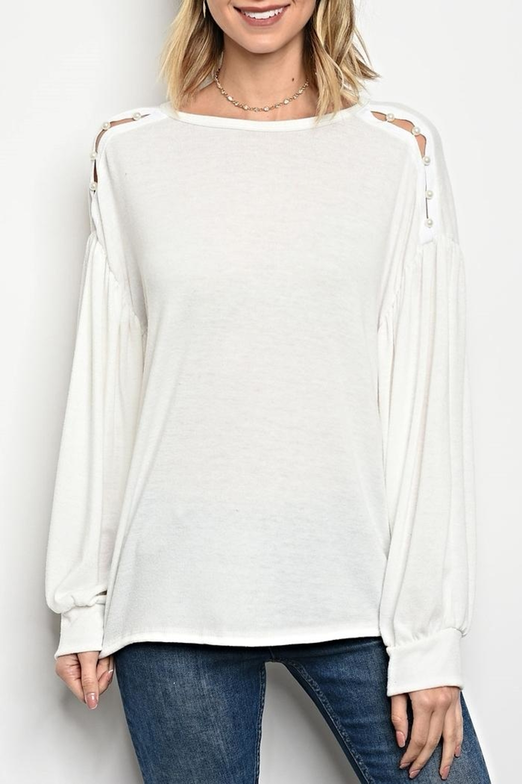 Sweet Claire White Button Sweater - Main Image