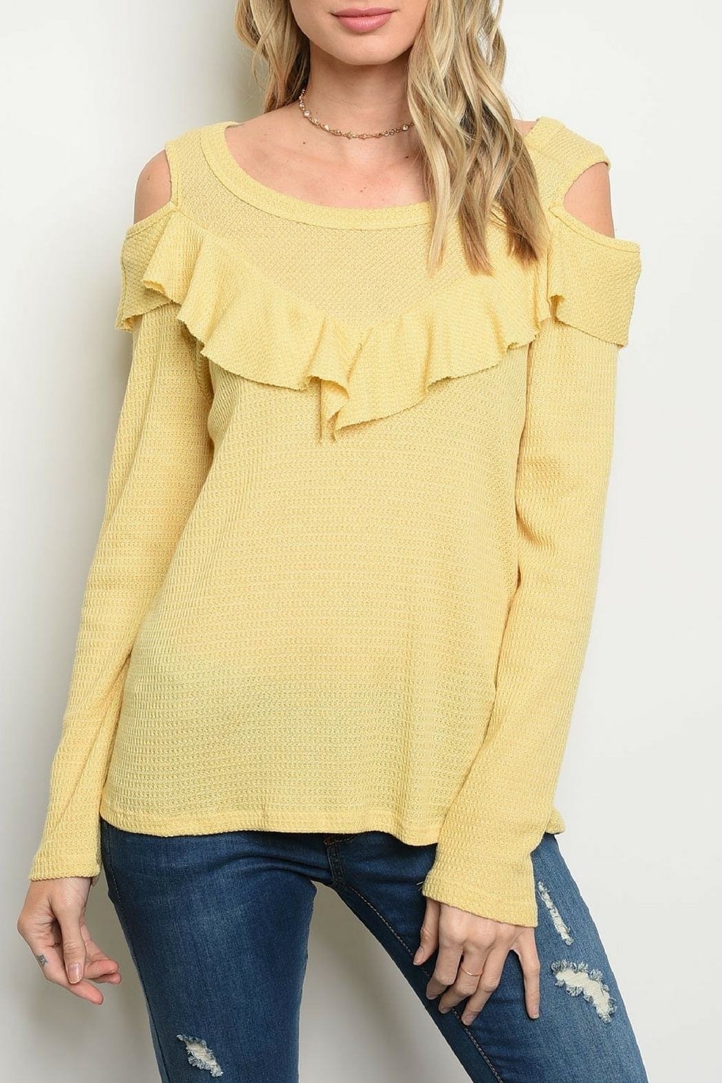 Sweet Claire Yellow Ruffle Top - Main Image