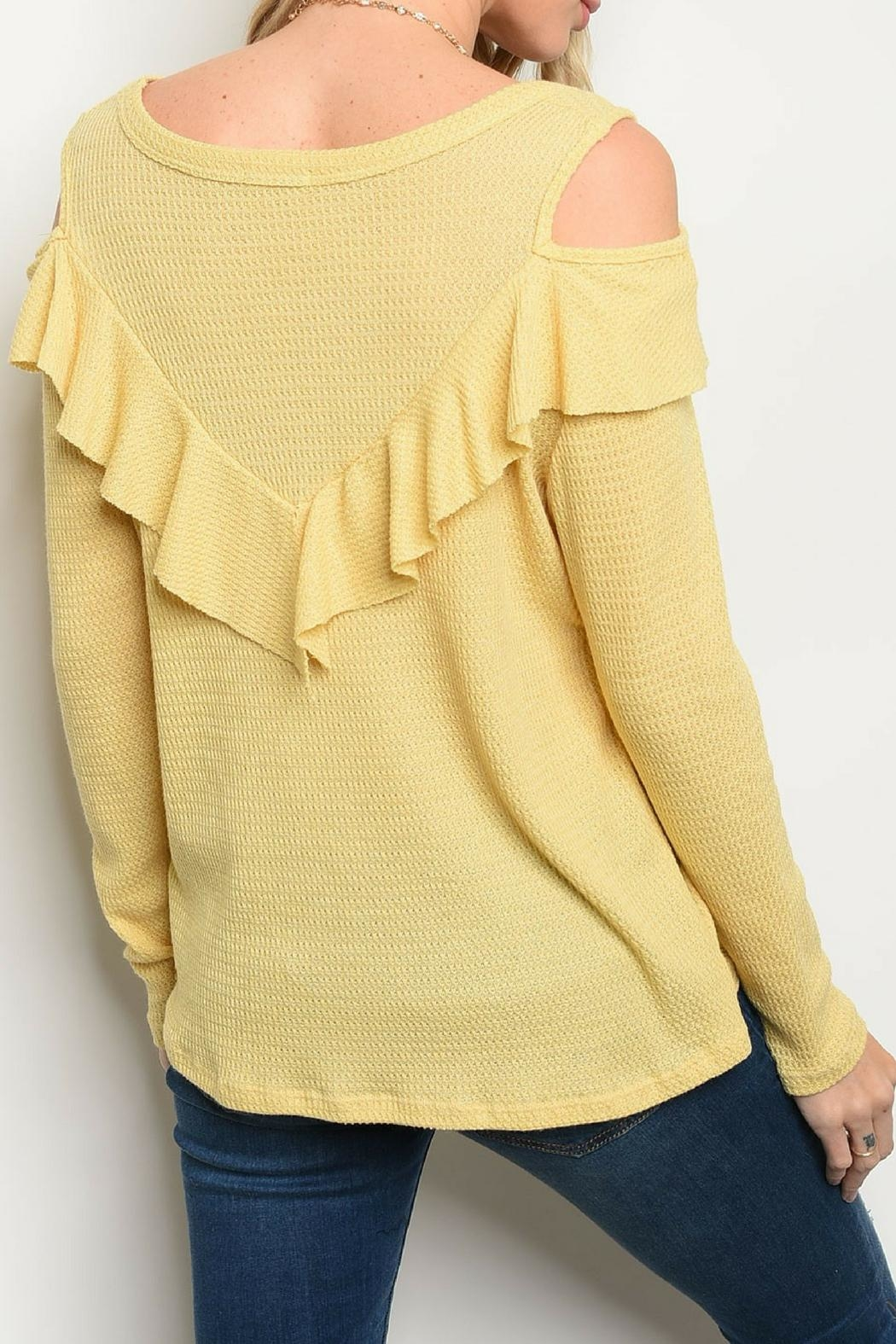 Sweet Claire Yellow Ruffle Top - Front Full Image