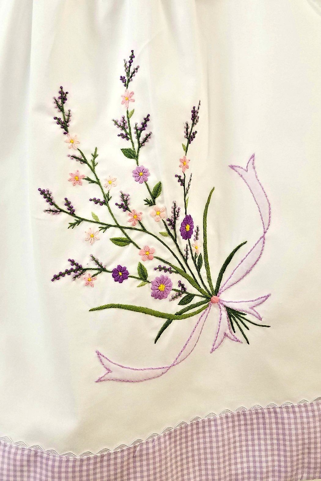 Sweet Dreams Lavender Floral-Embroidered Dress - Front Full Image