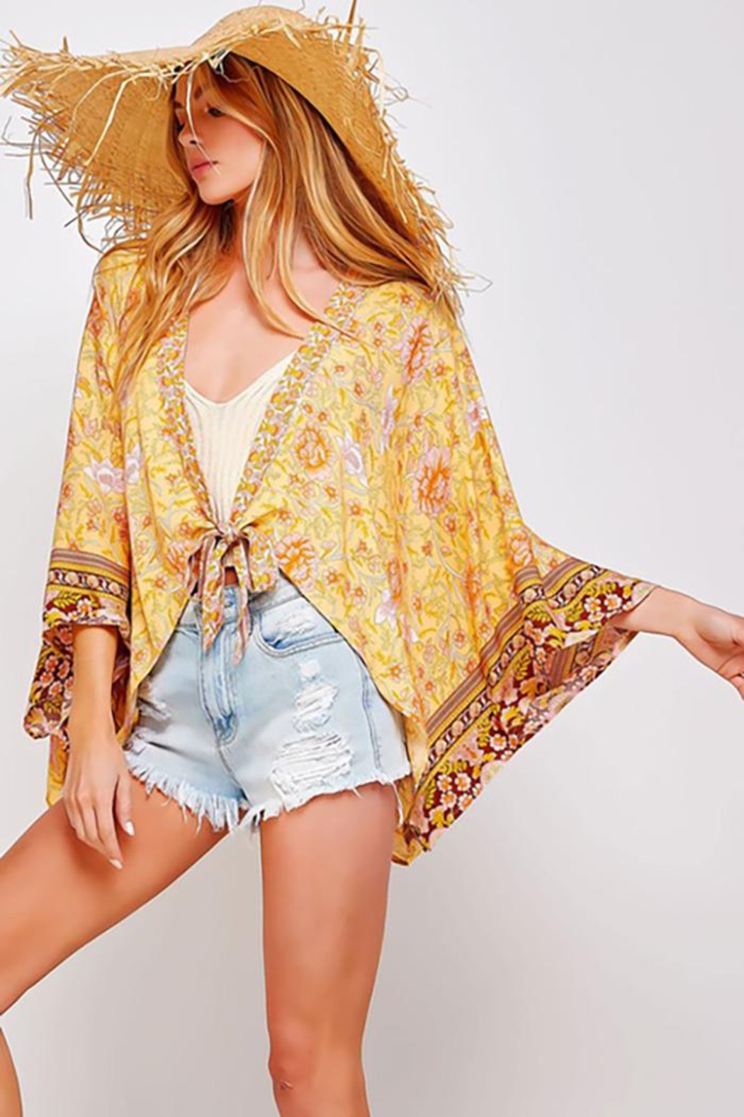 Sweet Generis Open Floral Print Kimono With Tie - Side Cropped Image