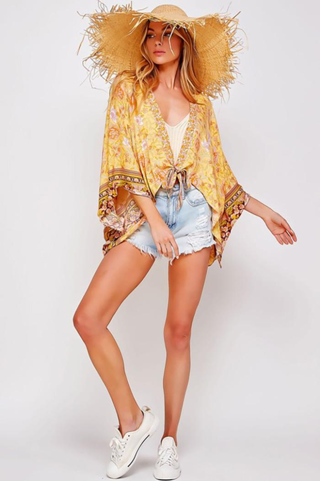 Sweet Generis Open Floral Print Kimono With Tie - Front Full Image