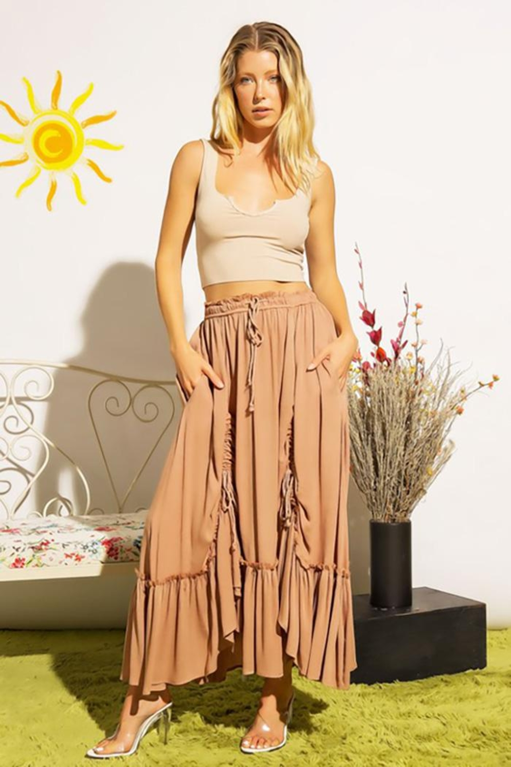 Sweet Generis Ruched Cinched And Pleated Convertible Skirt Dress - Front Cropped Image