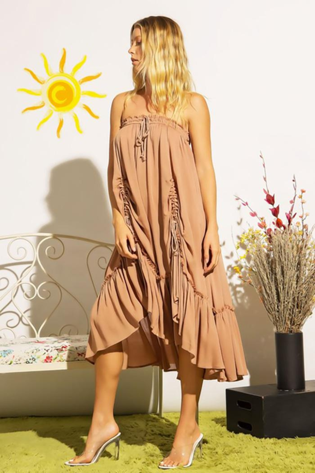 Sweet Generis Ruched Cinched And Pleated Convertible Skirt Dress - Front Full Image