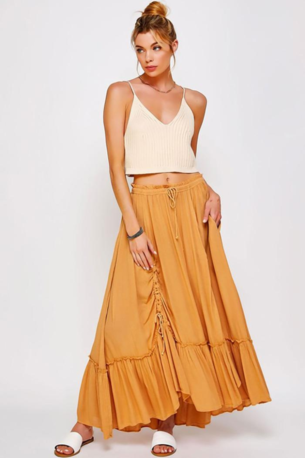 Sweet Generis Ruched Cinched And Pleated Convertible Skirt Dress - Main Image