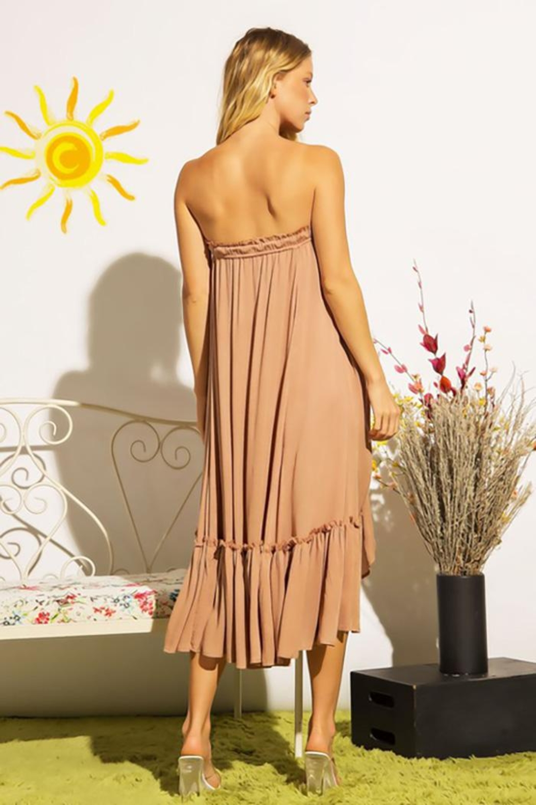 Sweet Generis Ruched Cinched And Pleated Convertible Skirt Dress - Back Cropped Image