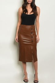 Sweet Journey Brown Leather Skirt - Side cropped