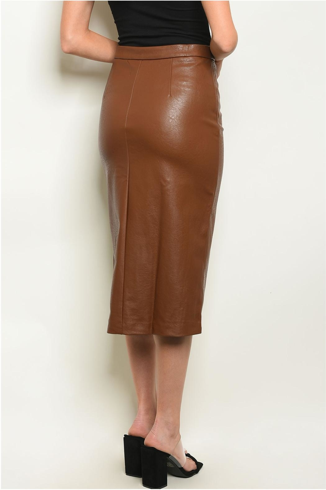 Sweet Journey Brown Leather Skirt - Front Full Image