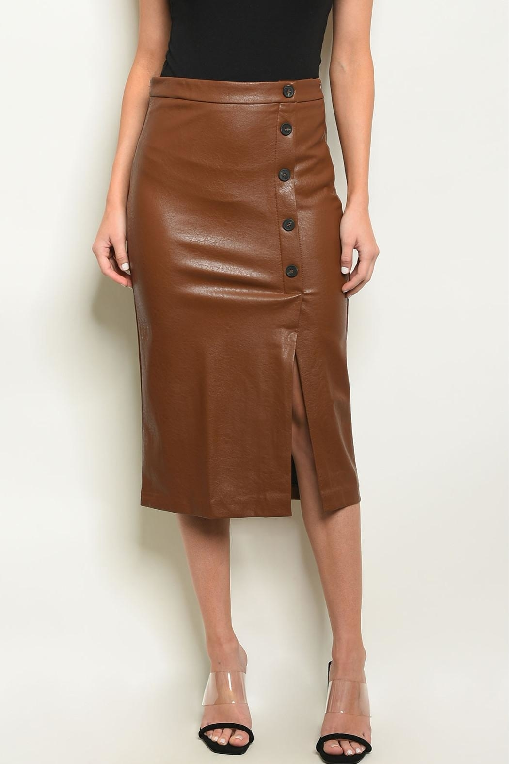 Sweet Journey Brown Leather Skirt - Main Image