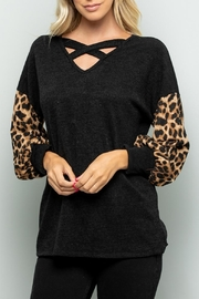 Sweet Lovely Black V-Neck Top - Front full body