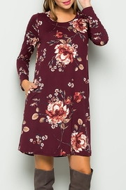 Sweet Lovely Burgundy Floral Dress - Product Mini Image