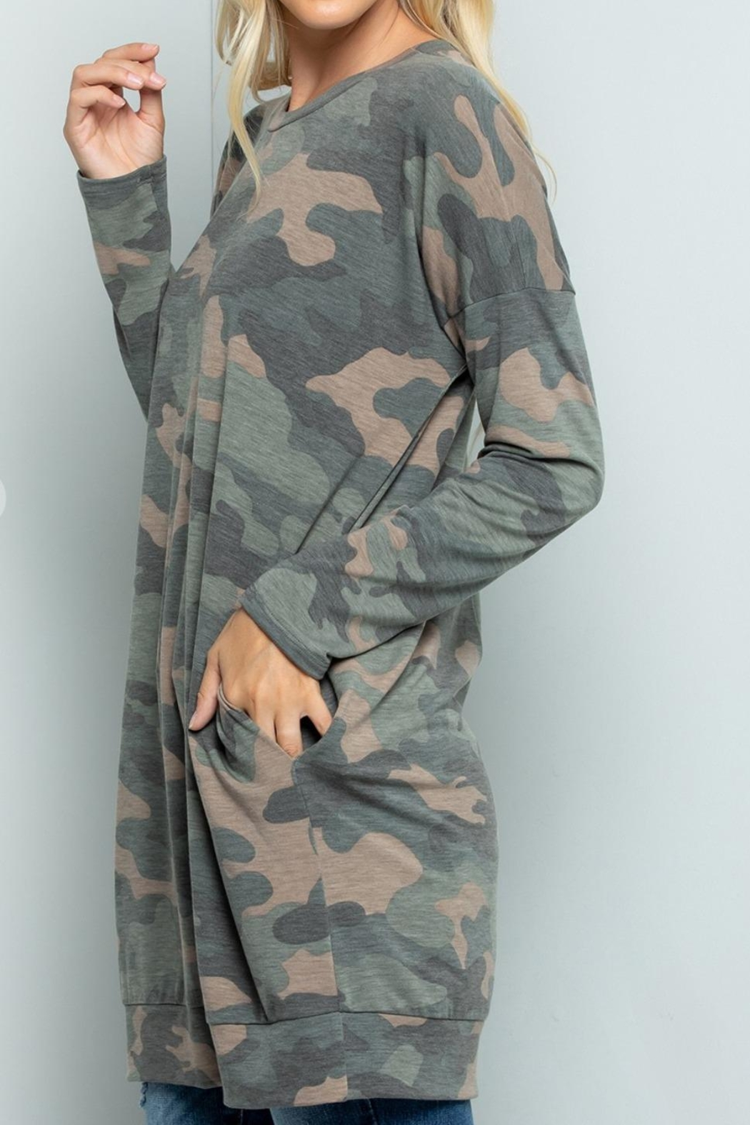 Sweet Lovely Camouflage Tunic Top - Front Full Image