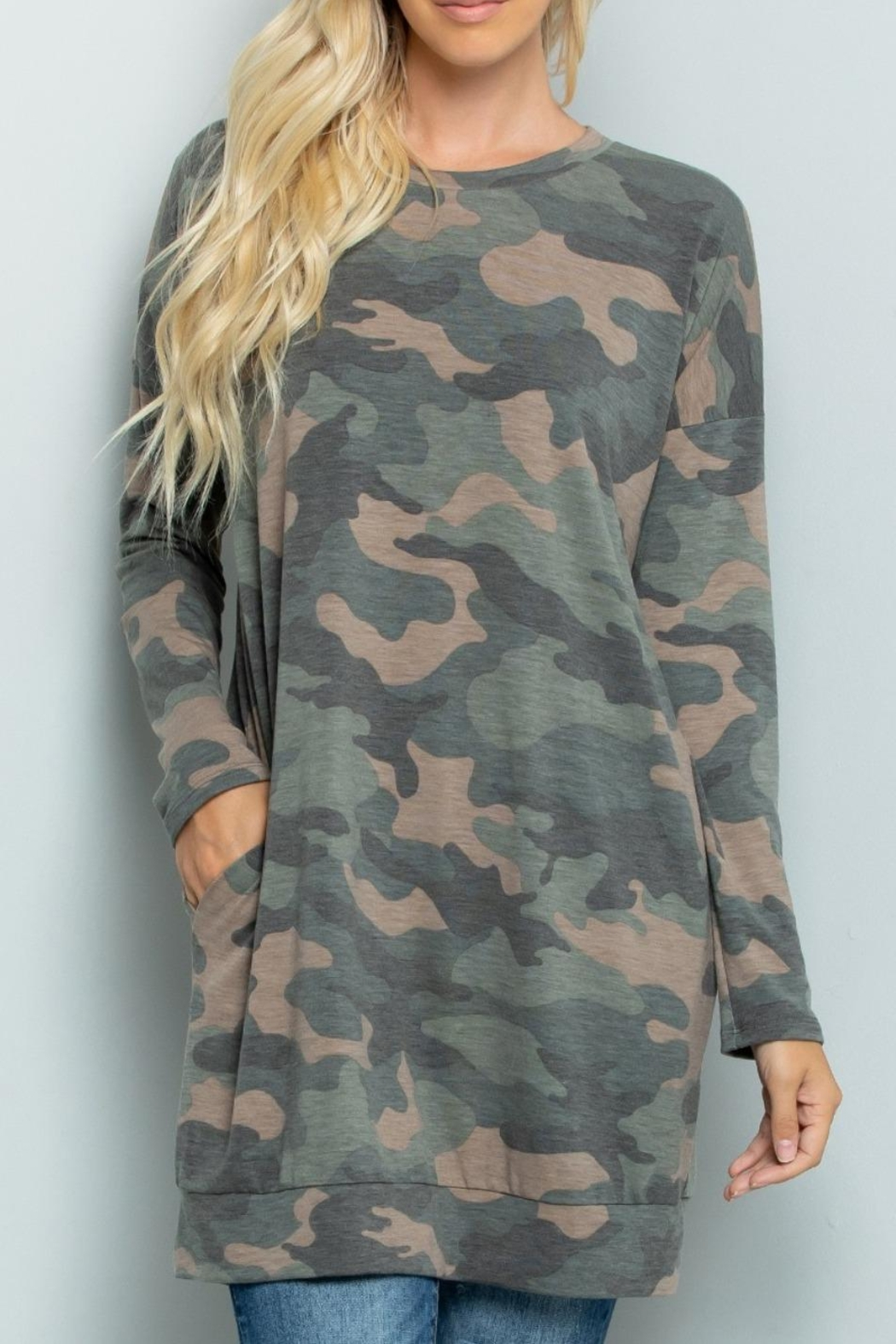 Sweet Lovely Camouflage Tunic Top - Main Image