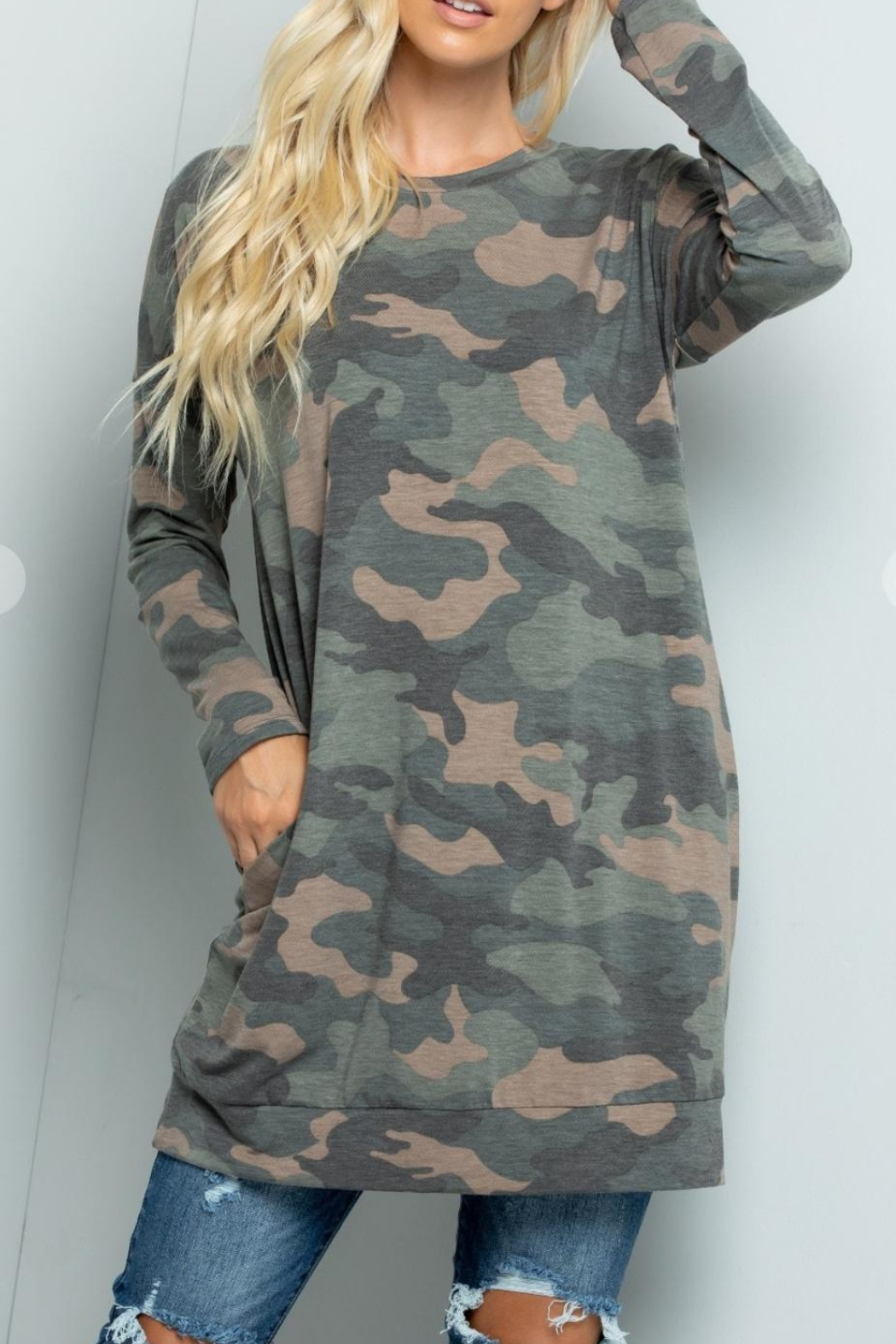 Sweet Lovely Camouflage Tunic Top - Side Cropped Image