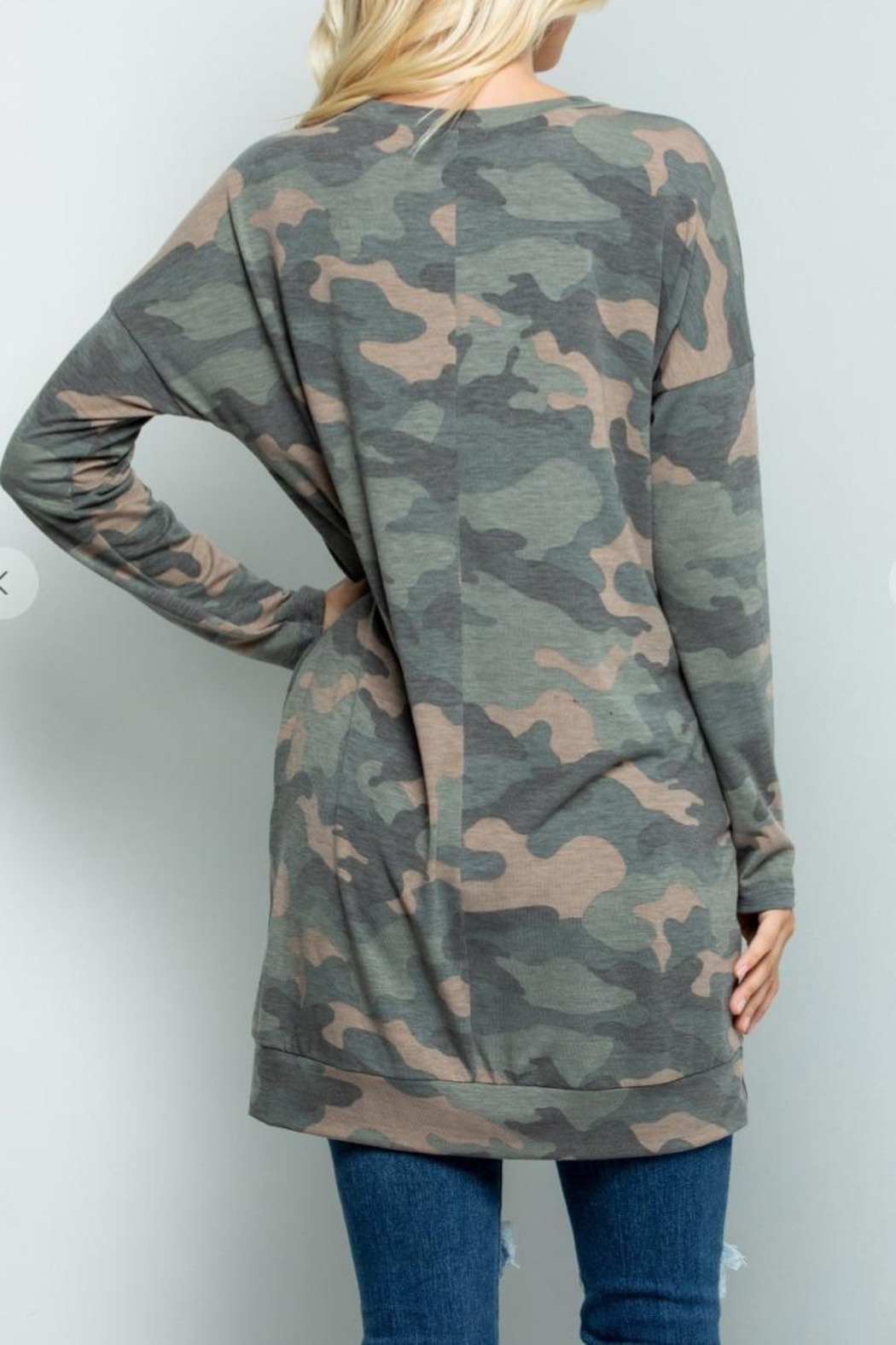 Sweet Lovely Camouflage Tunic Top - Back Cropped Image