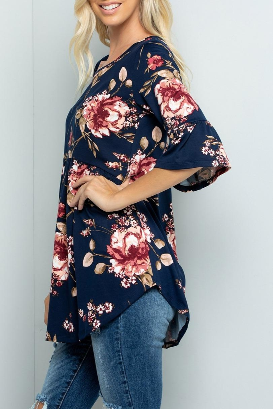 Sweet Lovely Floral Babydoll Tunic - Front Full Image