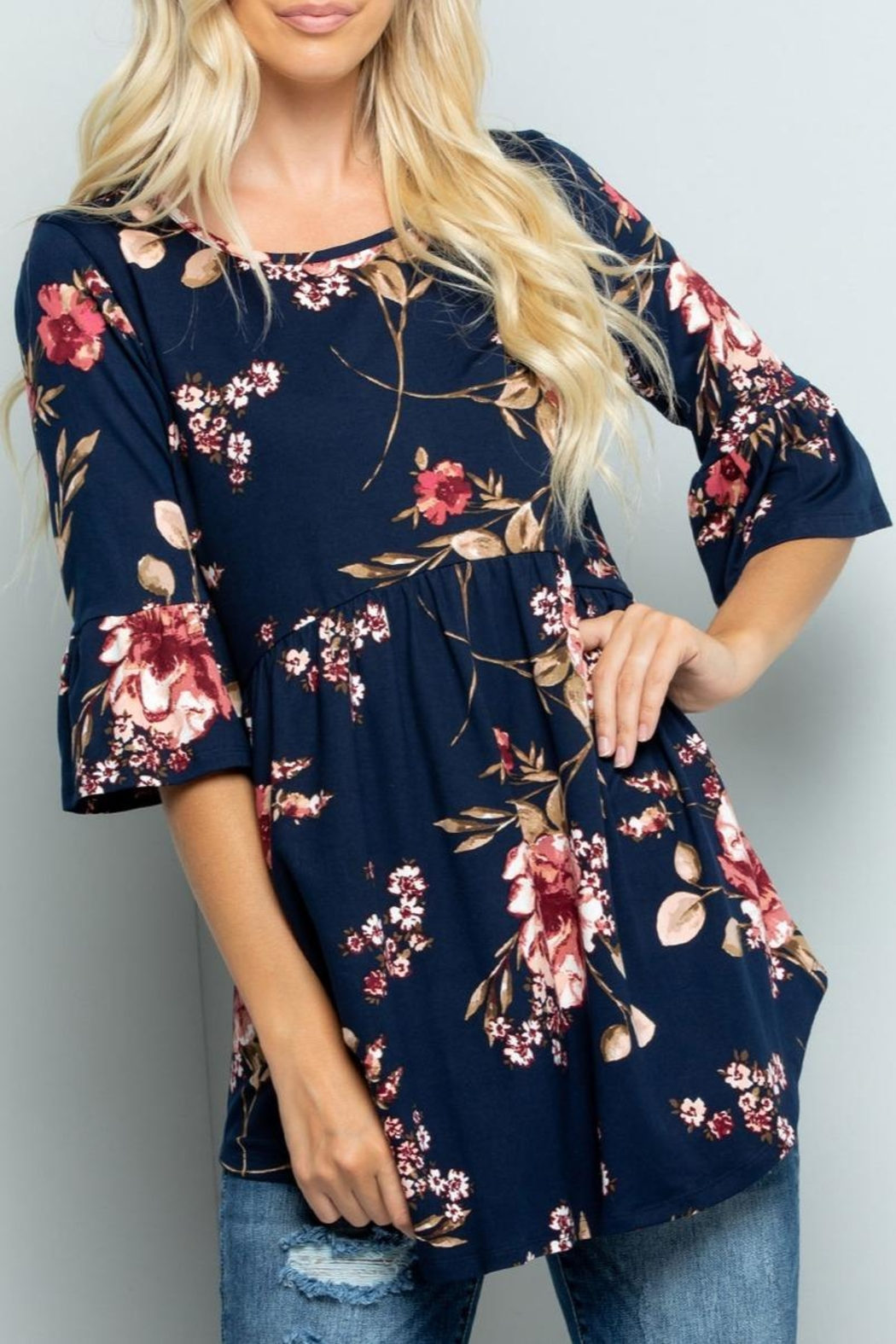Sweet Lovely Floral Babydoll Tunic - Main Image