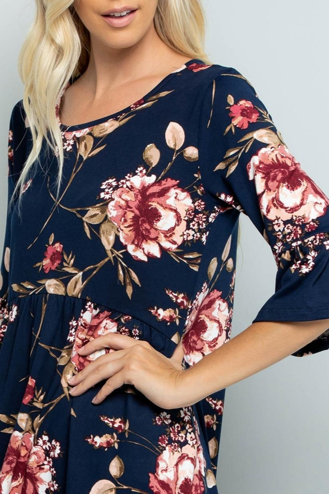 Sweet Lovely Floral Babydoll Tunic - Side Cropped Image