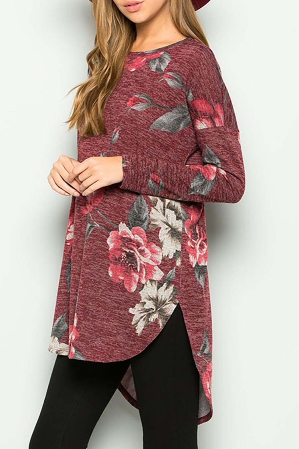 Sweet Lovely Floral Tunic Top - Front Full Image