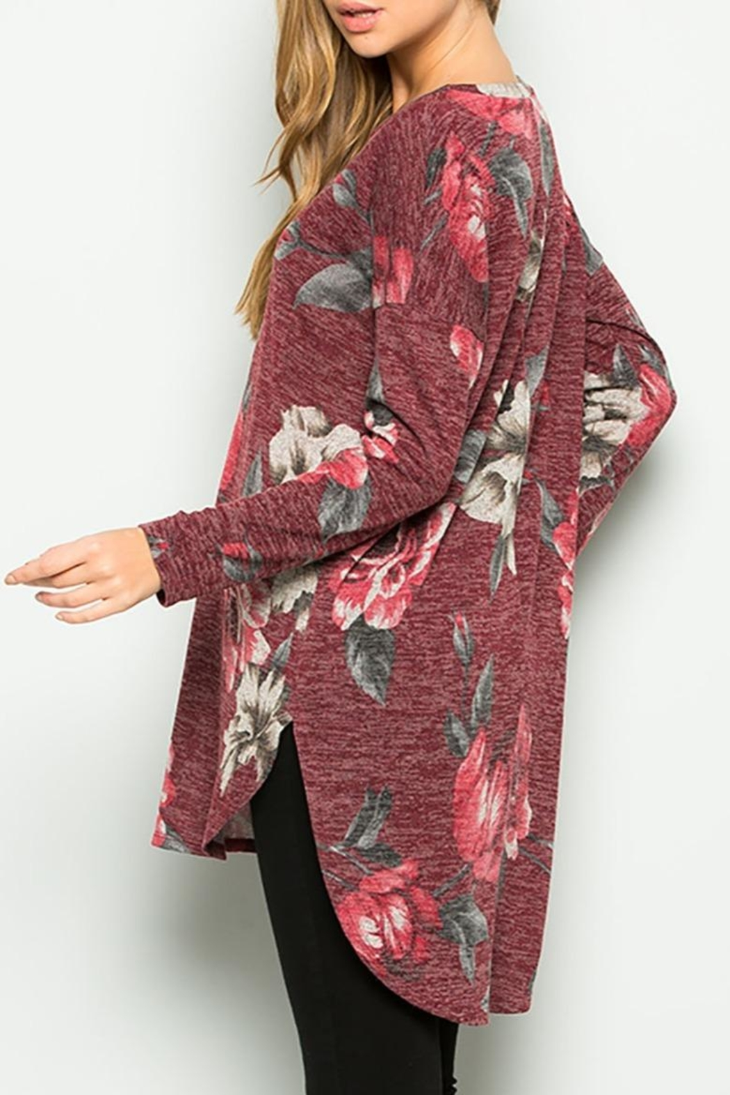 Sweet Lovely Floral Tunic Top - Back Cropped Image