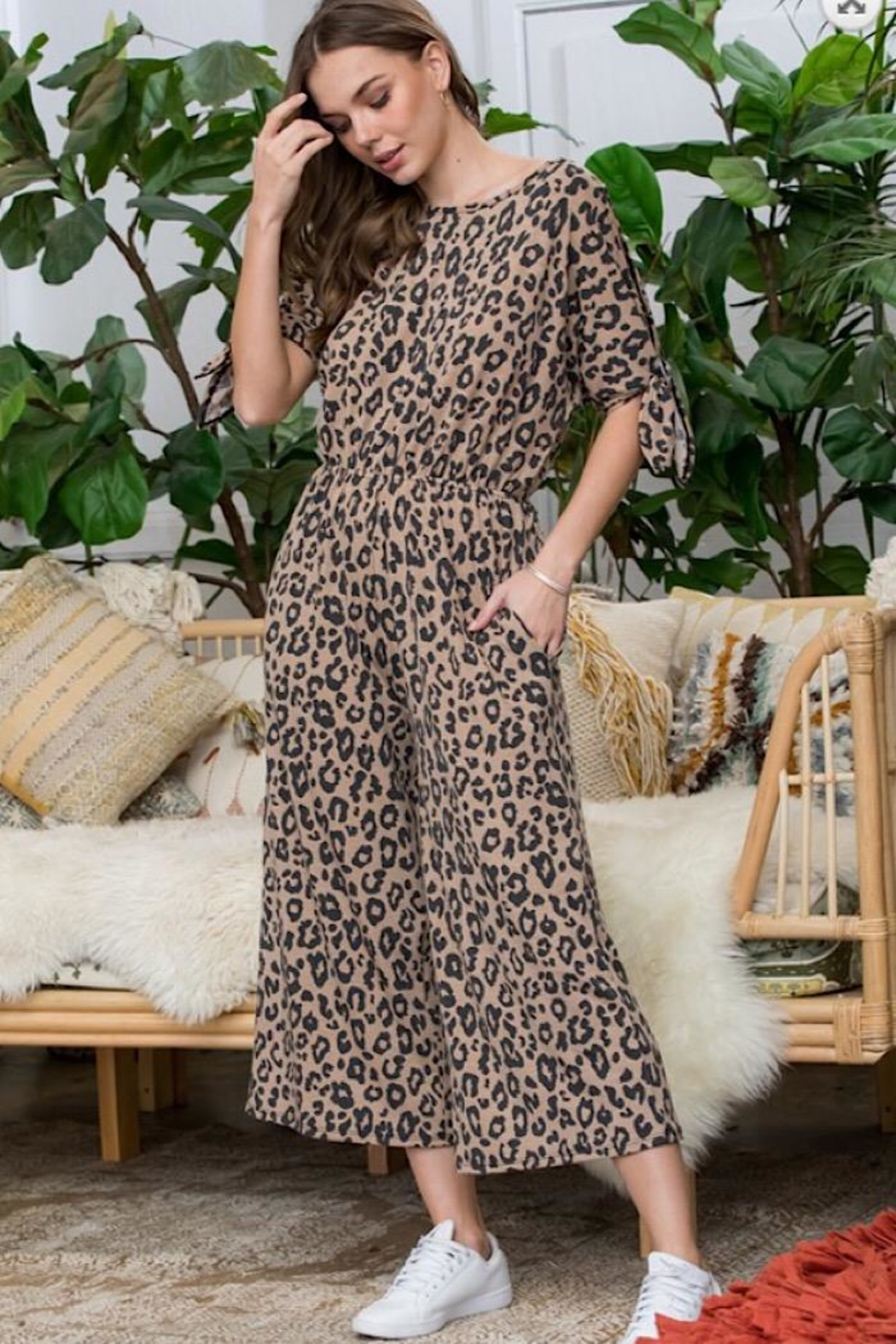 Sweet Lovely Leopard Print Jumpsuit - Main Image