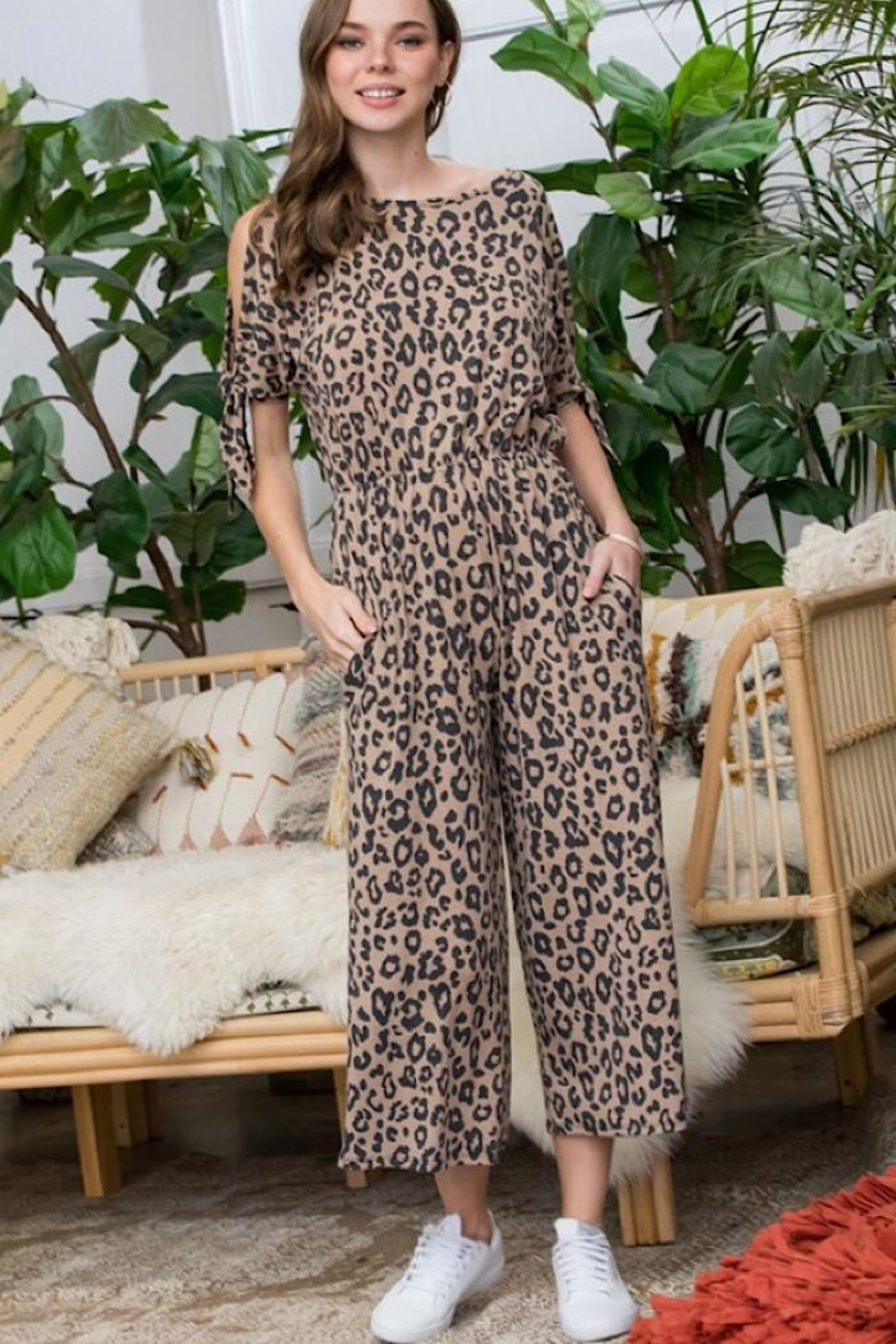 Sweet Lovely Leopard Print Jumpsuit - Front Full Image