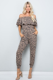 Sweet Lovely Leopard Print Off Shoulder Ruffle Jumpsuit - Product Mini Image