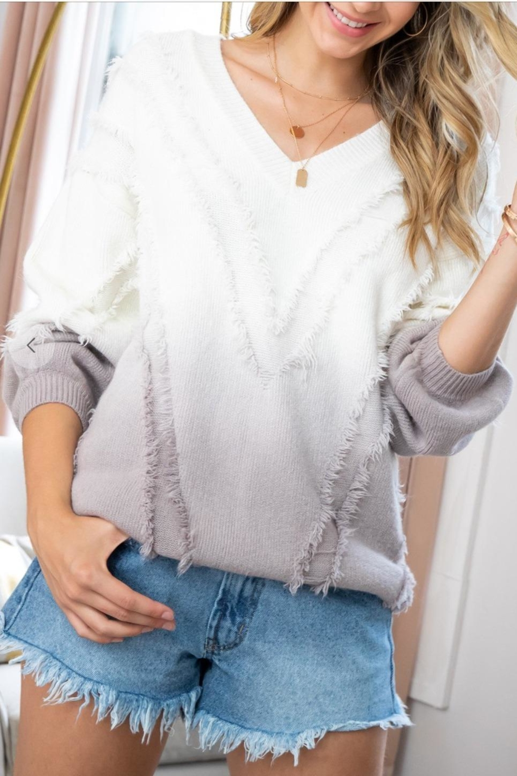 Sweet Lovely Ombre Fringe Sweater - Main Image