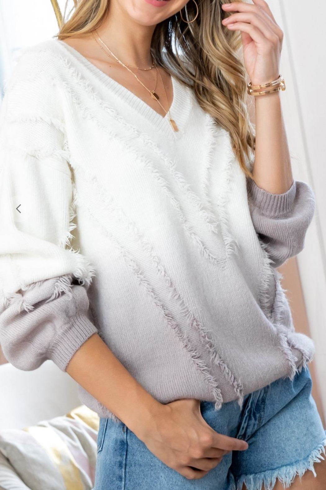 Sweet Lovely Ombre Fringe Sweater - Front Full Image