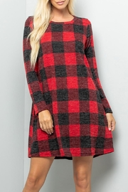 Sweet Lovely Plaid Pocket Sweater-Dress - Product Mini Image
