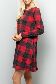 Sweet Lovely Plaid Pocket Sweater-Dress - Front full body