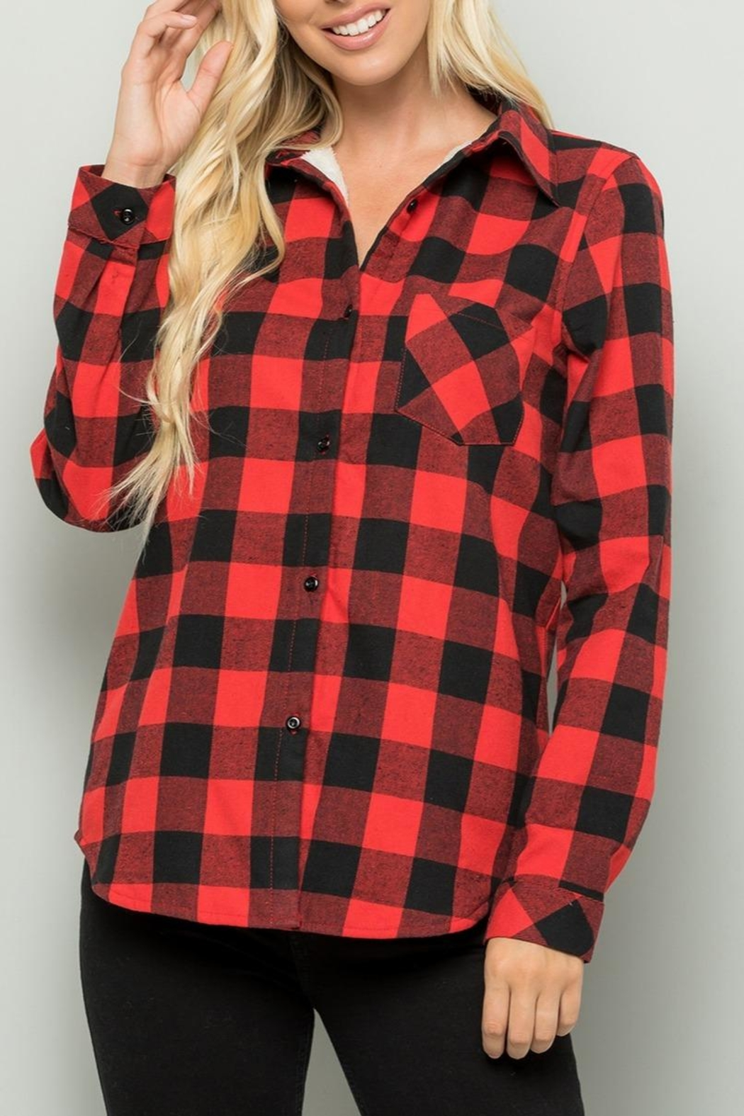 Sweet Lovely Red Plaid Top - Main Image