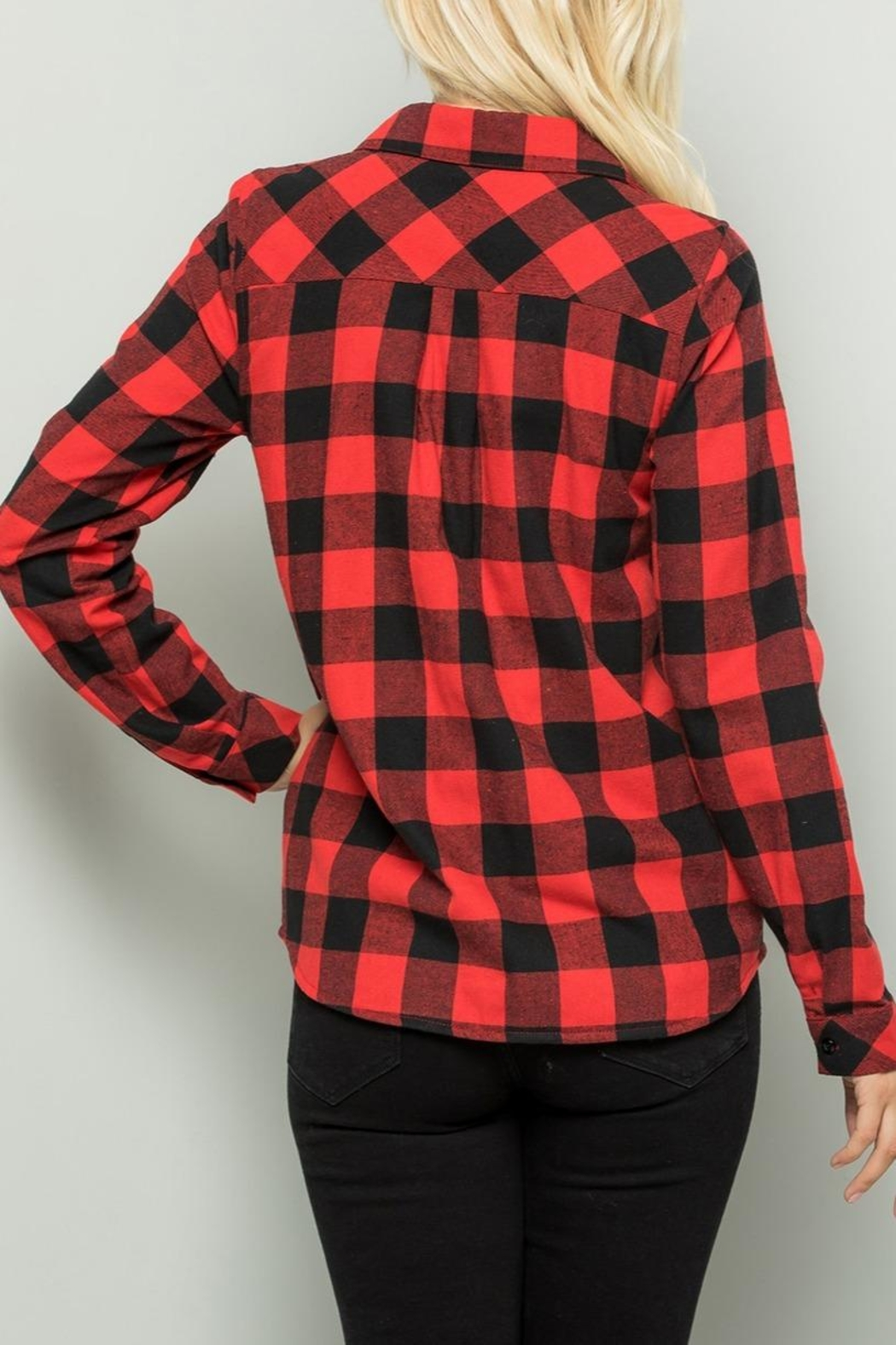 Sweet Lovely Red Plaid Top - Side Cropped Image