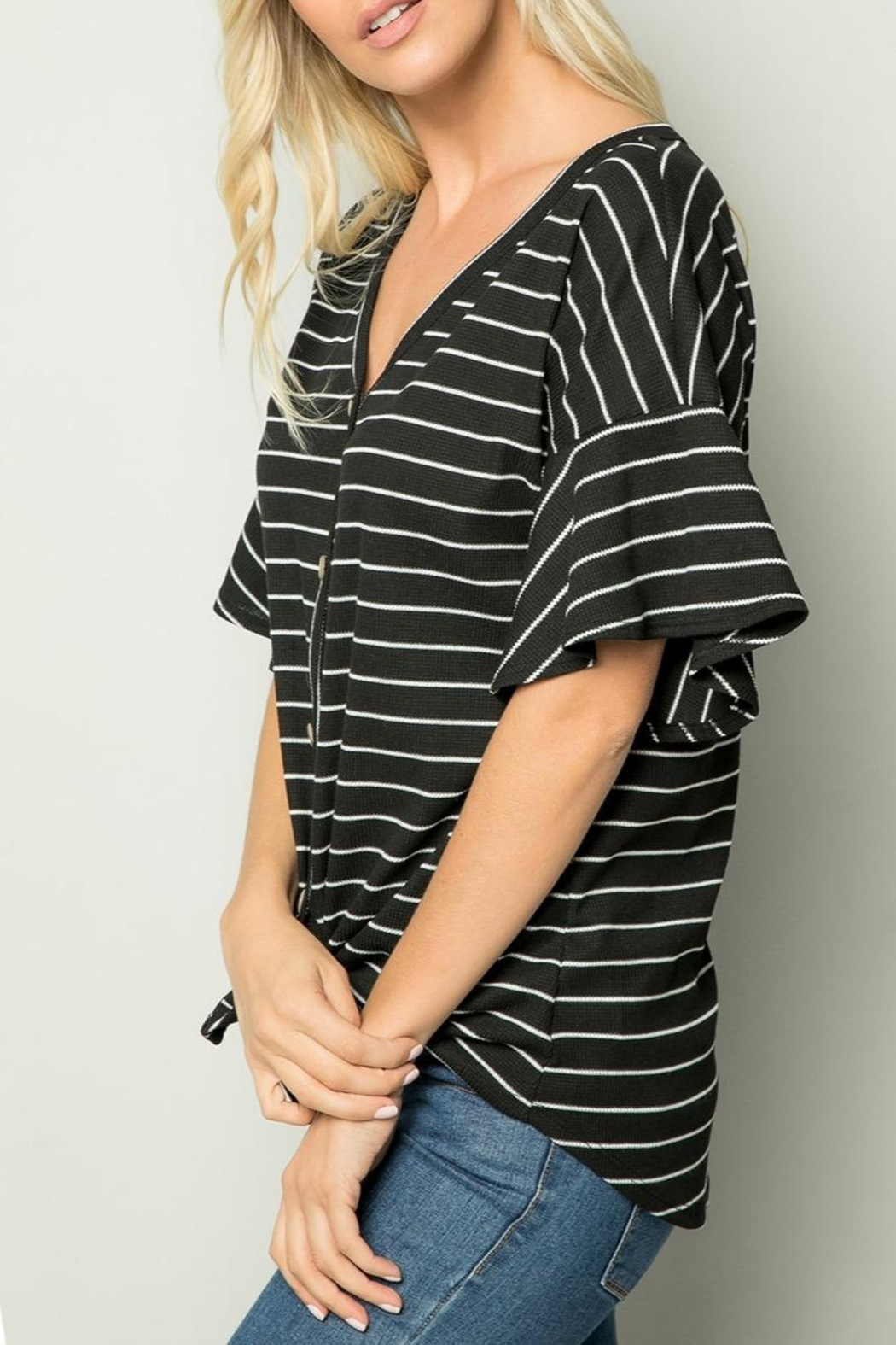 Sweet Lovely Stripe Tie Top - Front Full Image