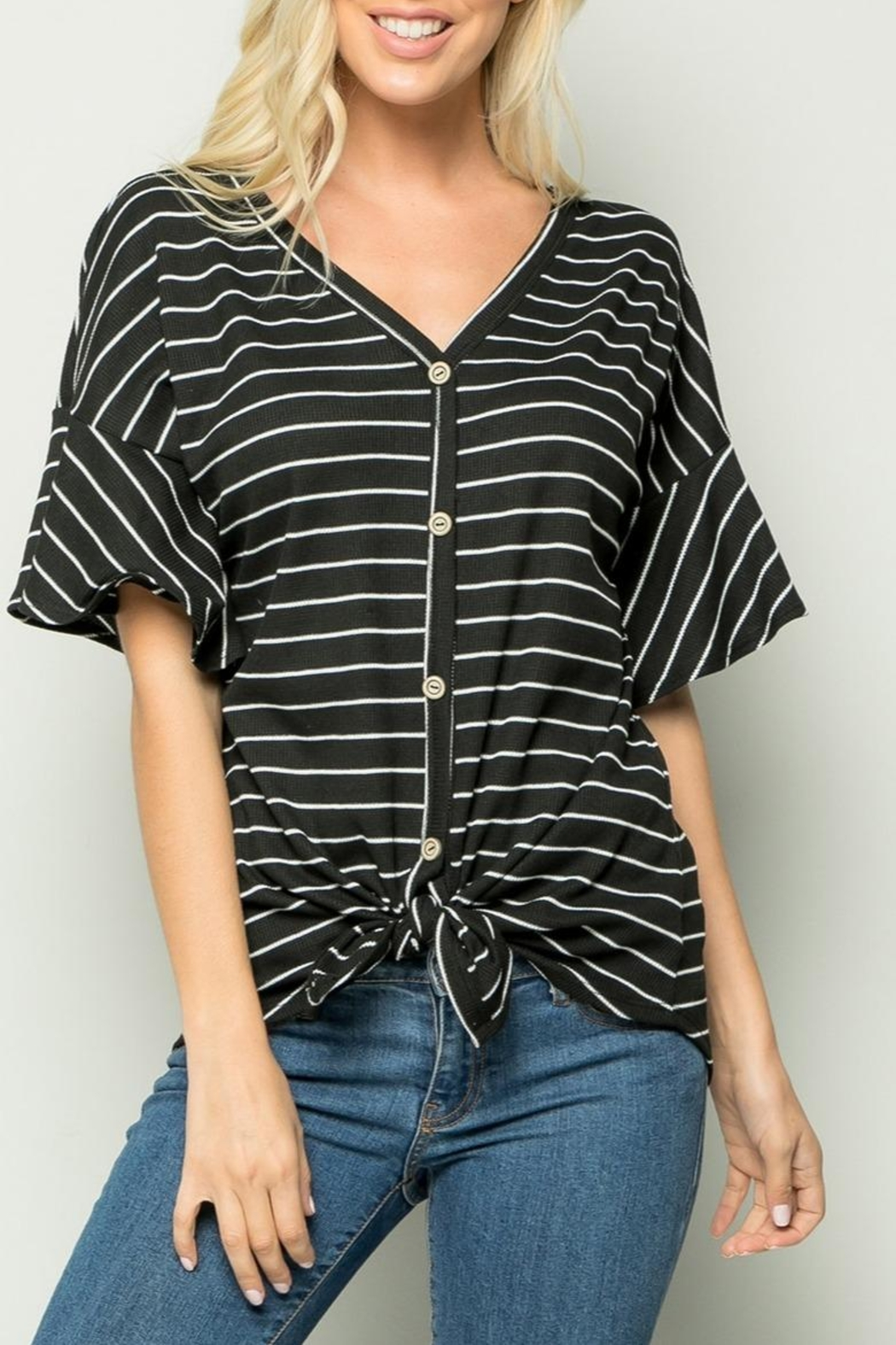 Sweet Lovely Stripe Tie Top - Front Cropped Image