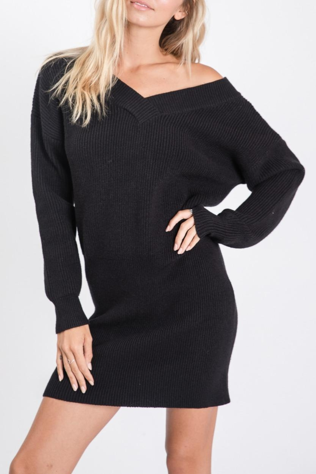 Sweet Lovely Tunic Sweater Dress - Front Full Image