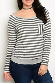 Sweet Marcel Grey Stripe Top - Product Mini Image