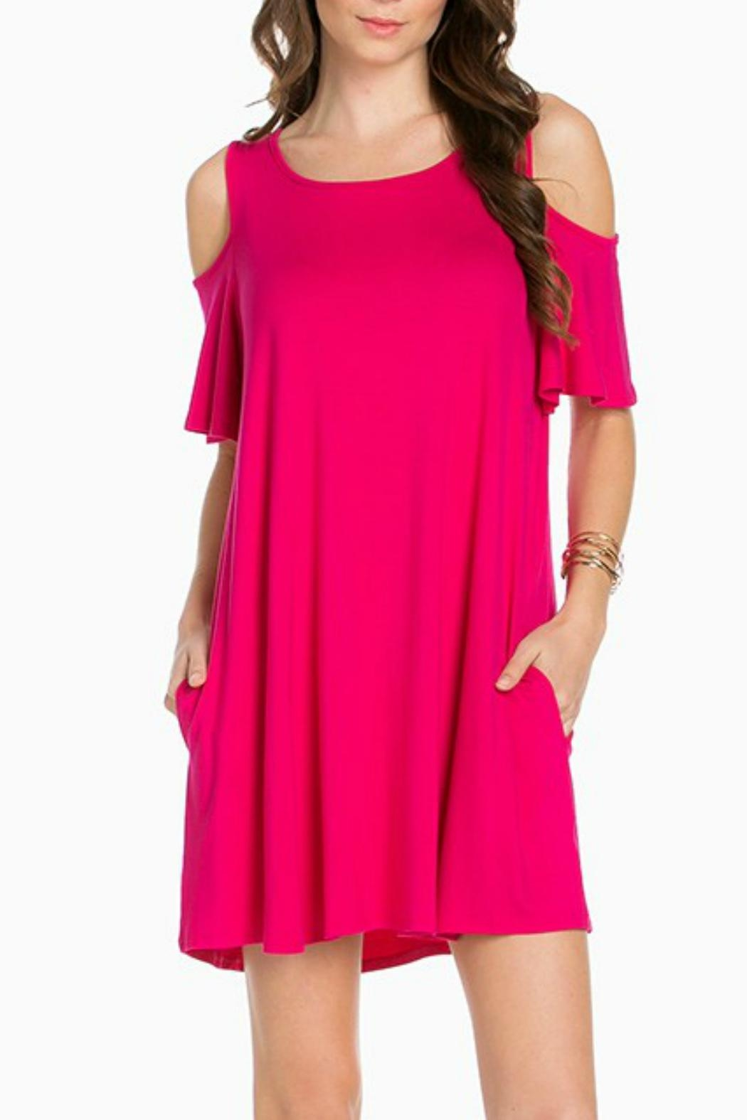 391cc13743b129 Sweet Pea Cold Shoulder Fuschia Dress from Oklahoma by Simply ...