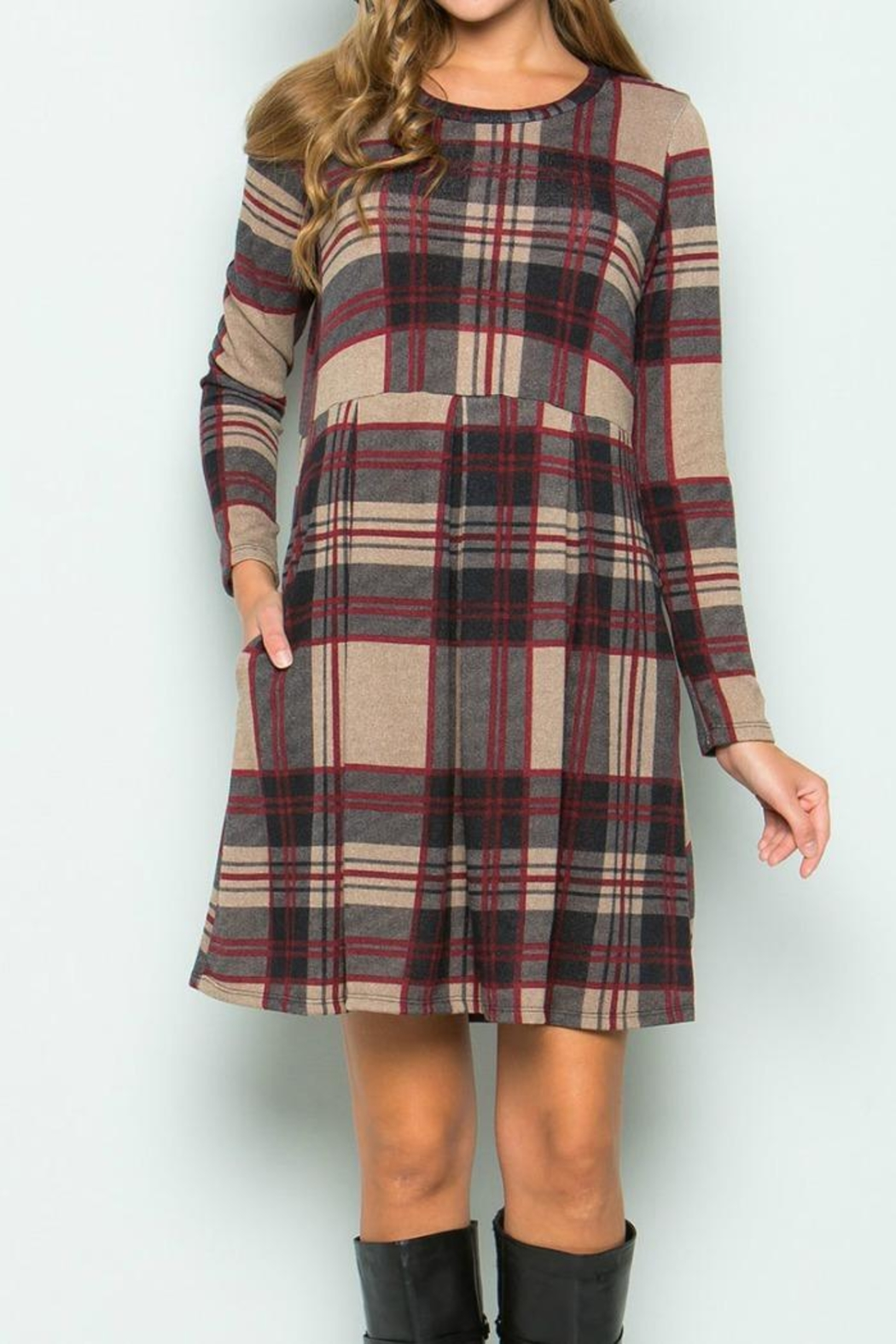 Sweet Pea Plaid Dress - Front Cropped Image