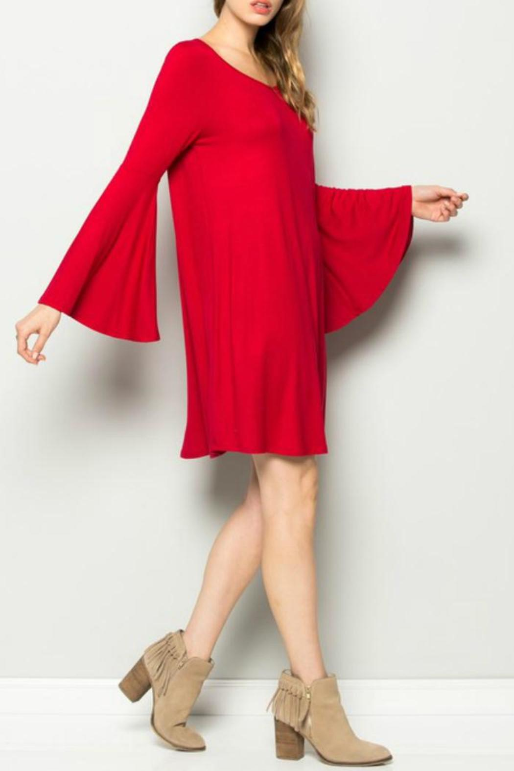 Sweet Pea Red Belle Sleeve Dress - Front Full Image