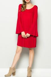 Sweet Pea Red Belle Sleeve Dress - Front cropped