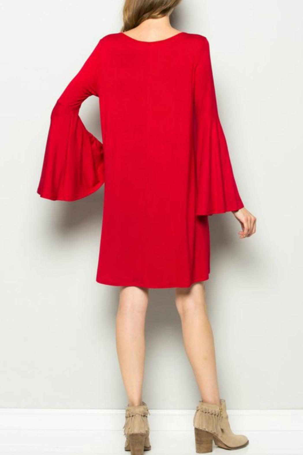 Sweet Pea Red Belle Sleeve Dress - Side Cropped Image