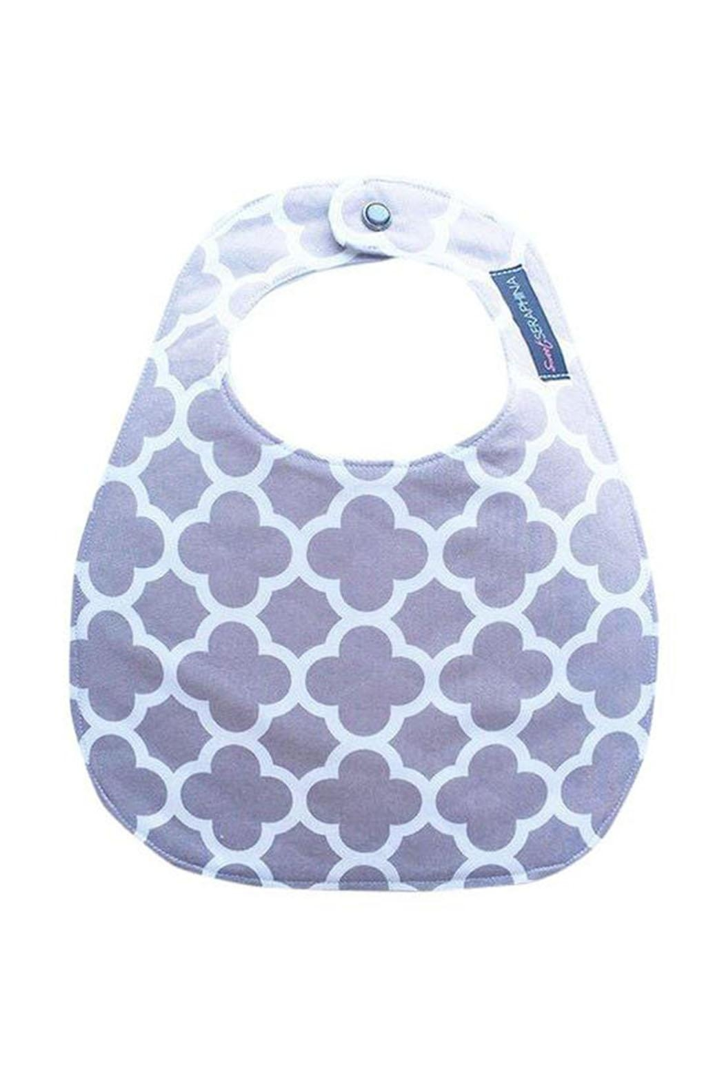 Sweet Seraphina Gray Quatrefoil Bib - Front Cropped Image