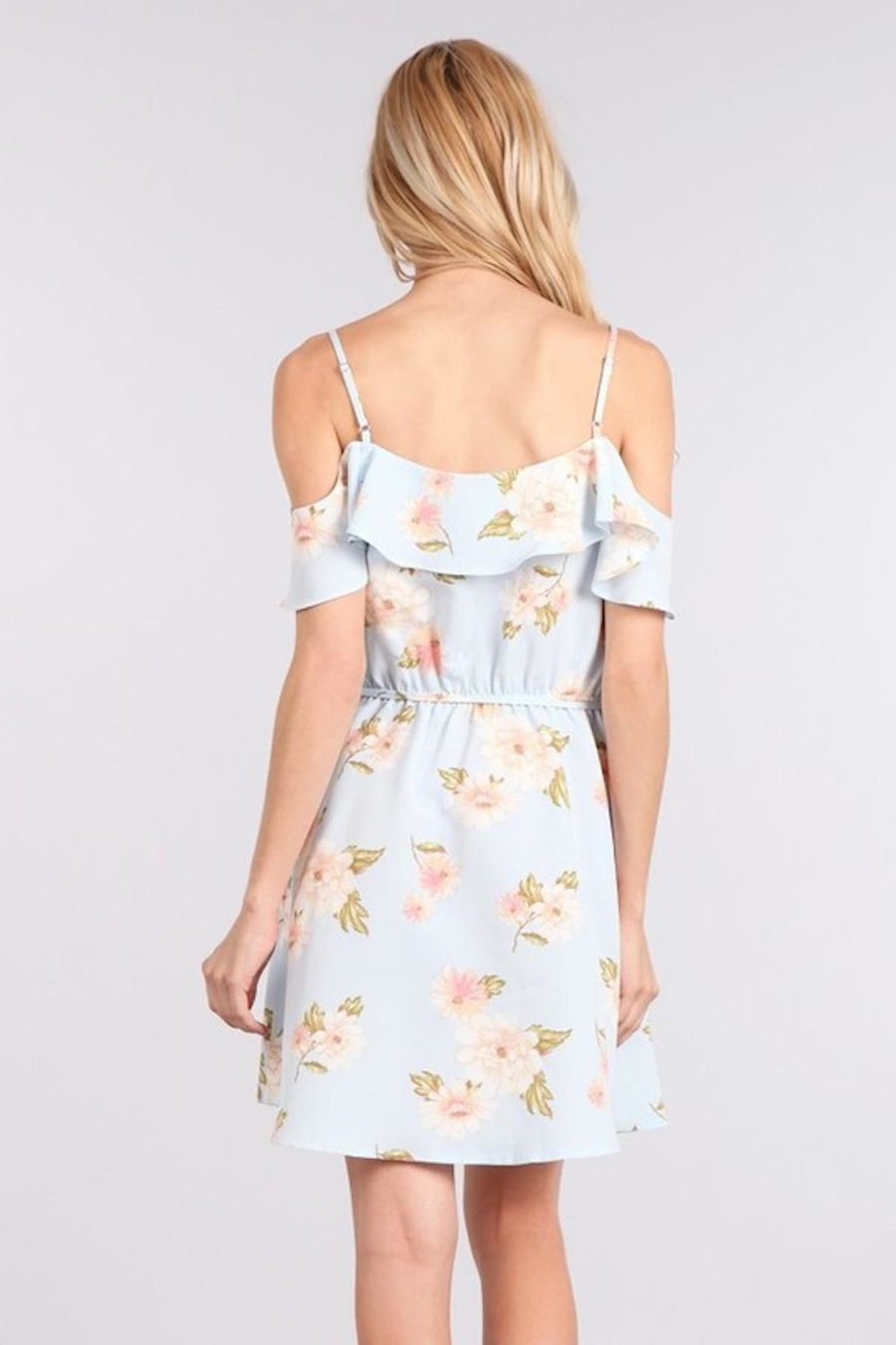 Sweet Wanderer Baby-Blue Floral Dress - Back Cropped Image