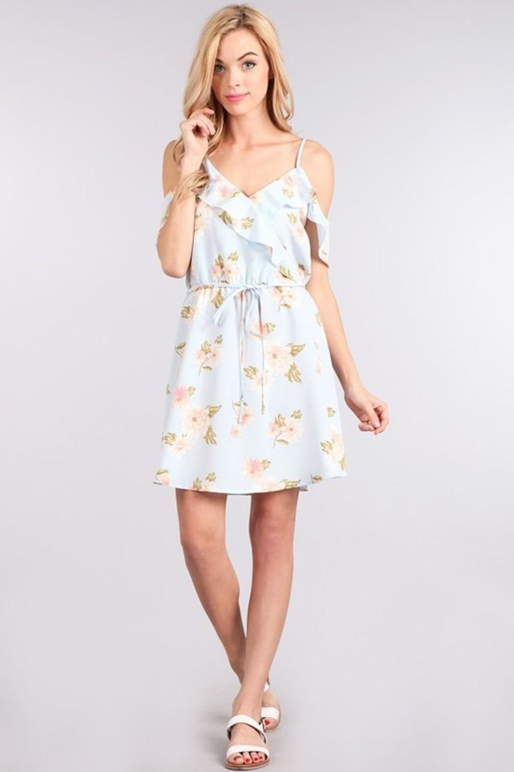 Sweet Wanderer Baby-Blue Floral Dress - Main Image