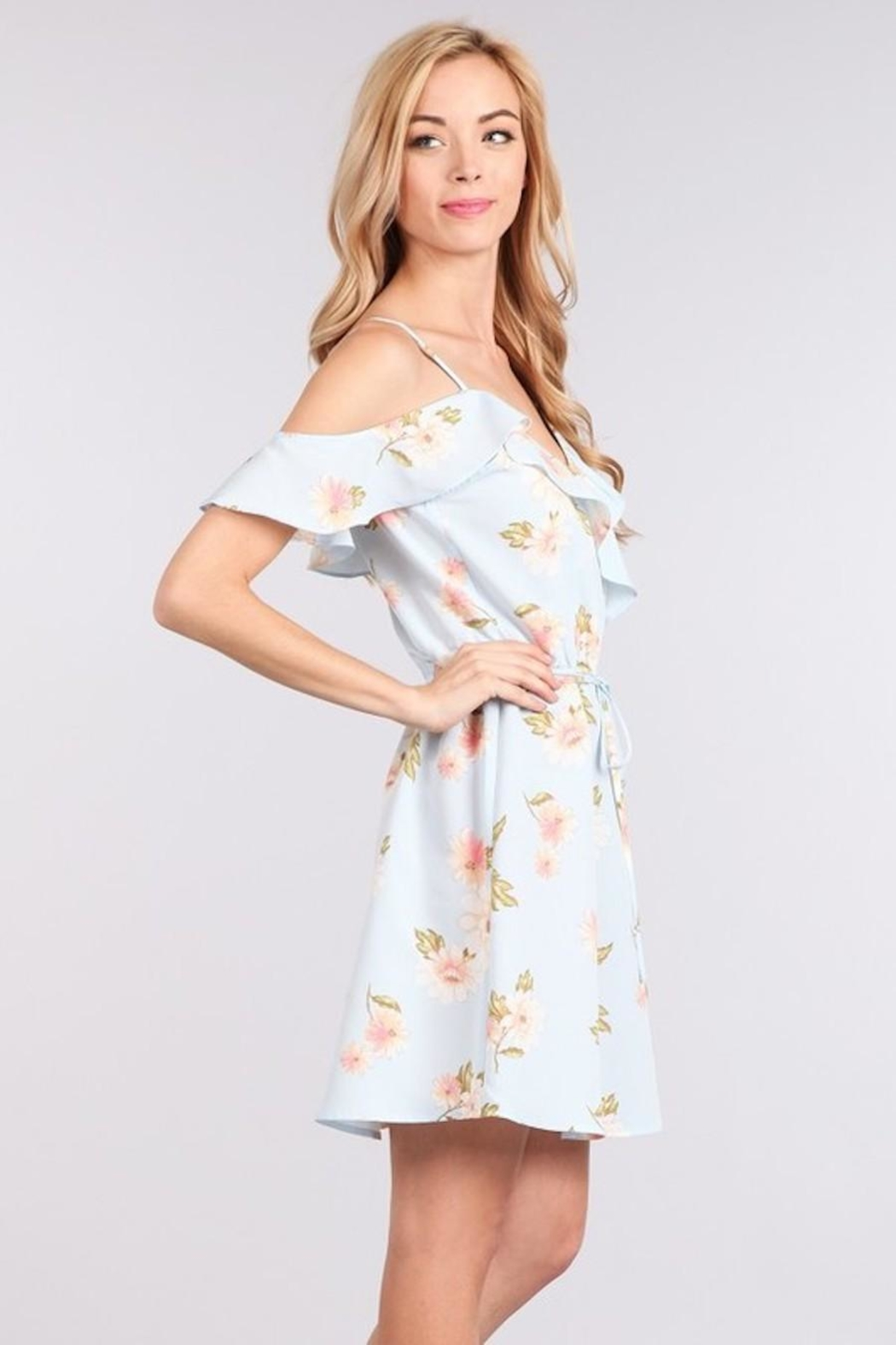 Sweet Wanderer Baby-Blue Floral Dress - Side Cropped Image