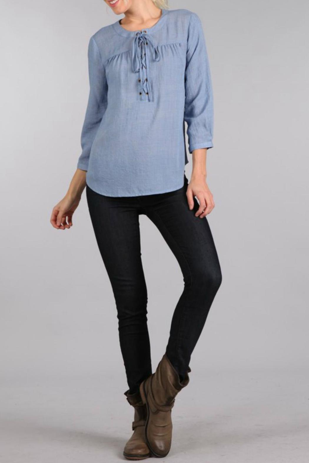Sweet Wanderer Lace Up Relaxed Top - Main Image