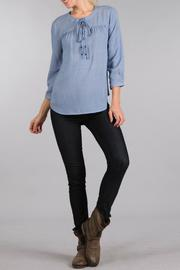 Sweet Wanderer Lace Up Relaxed Top - Front cropped