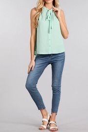 Sweet Wanderer Sage Bow Top - Product Mini Image