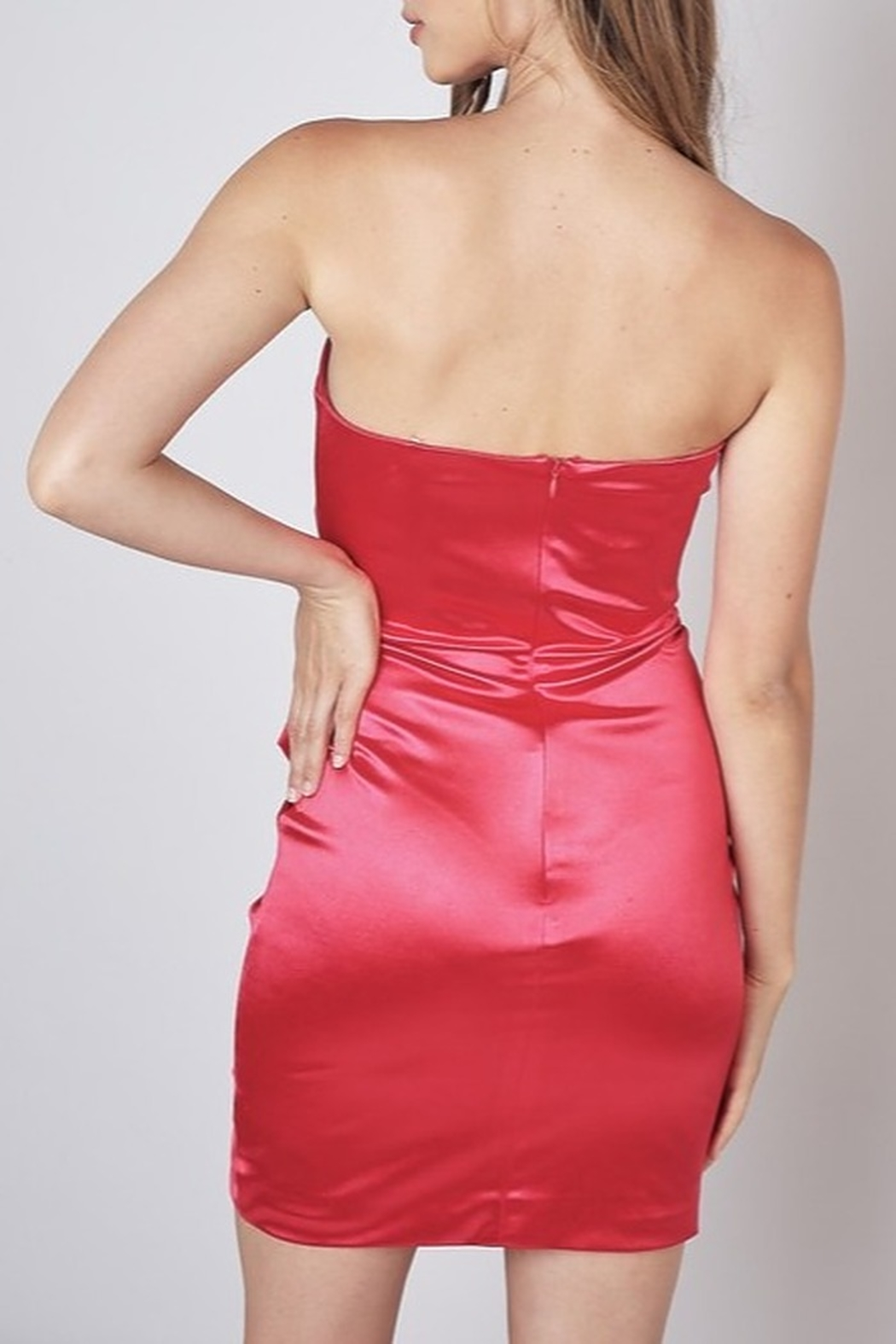 Do & Be Sweetheart Neck Satin Dress - Side Cropped Image